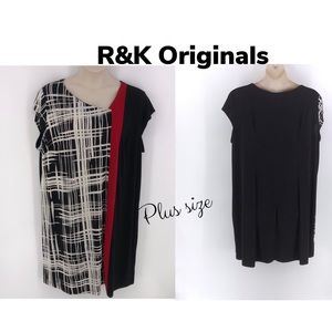 R&K Originals Plus Size BlackWhite Dress 3X